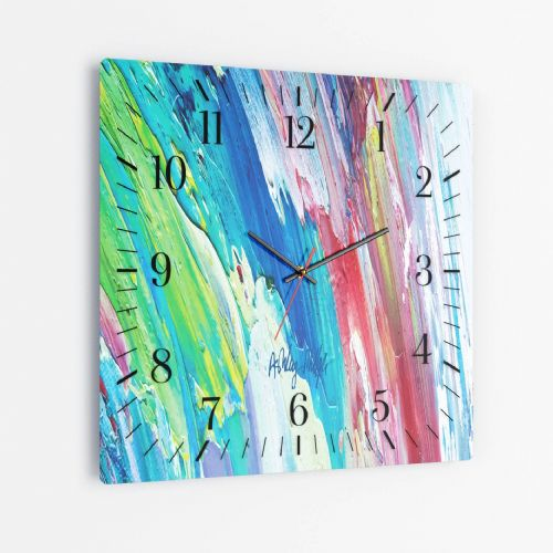 Surging Wave - Square Glass Clock